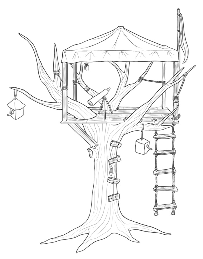 House Drawing Color: Treehouse By ImaginaryGoddess On DeviantArt