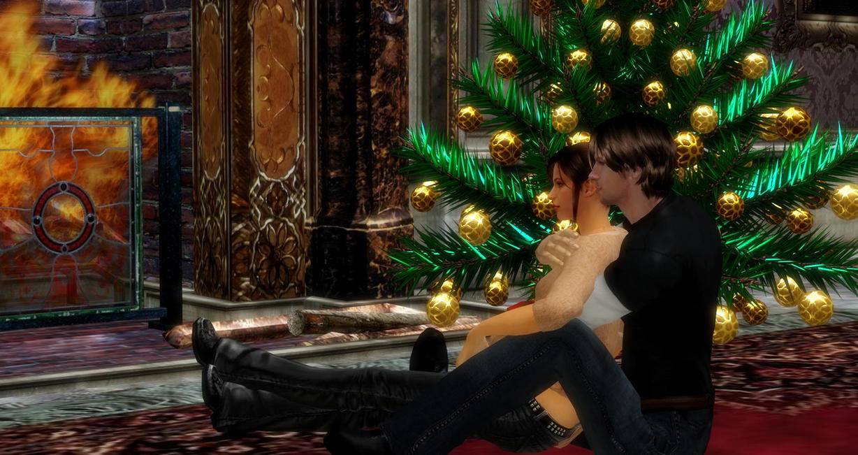 Leon And Claire Xmas by EpitaphOfTwilightCe