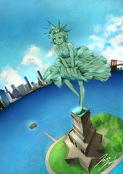 Marilyn Monroe   Statue of Liberty  New York by jazzjack-KHT