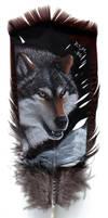 Wolf Head on Feather - Acrylic by lenzamoon