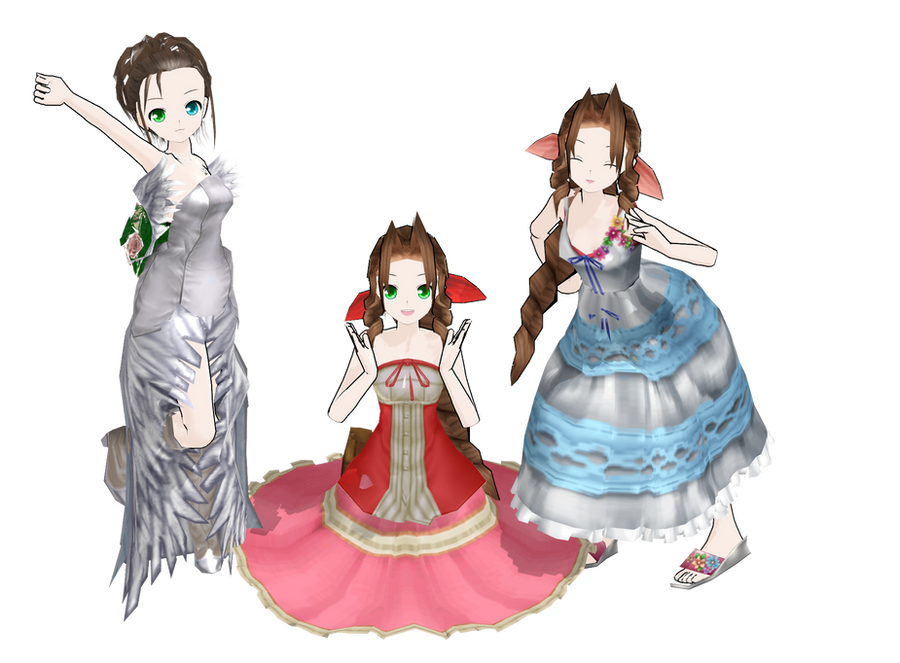 MMD Aerith KH,CC and Yuna wedding dress by Pucaroo16