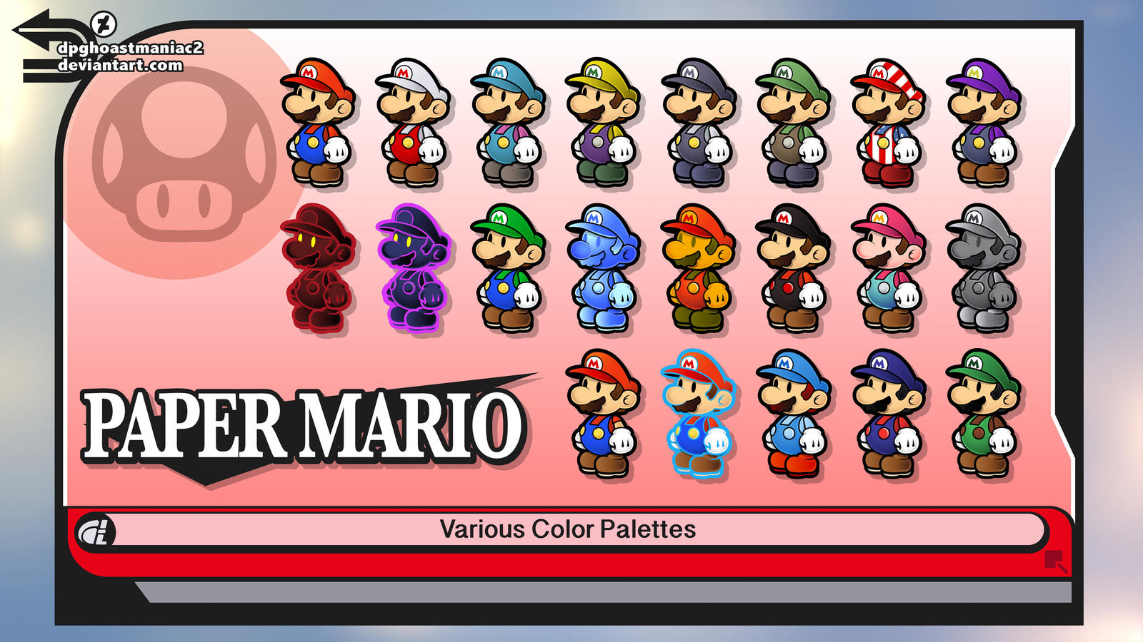 Paper mario misc smash 4 color palettes by shadowlifeman for What color is mario