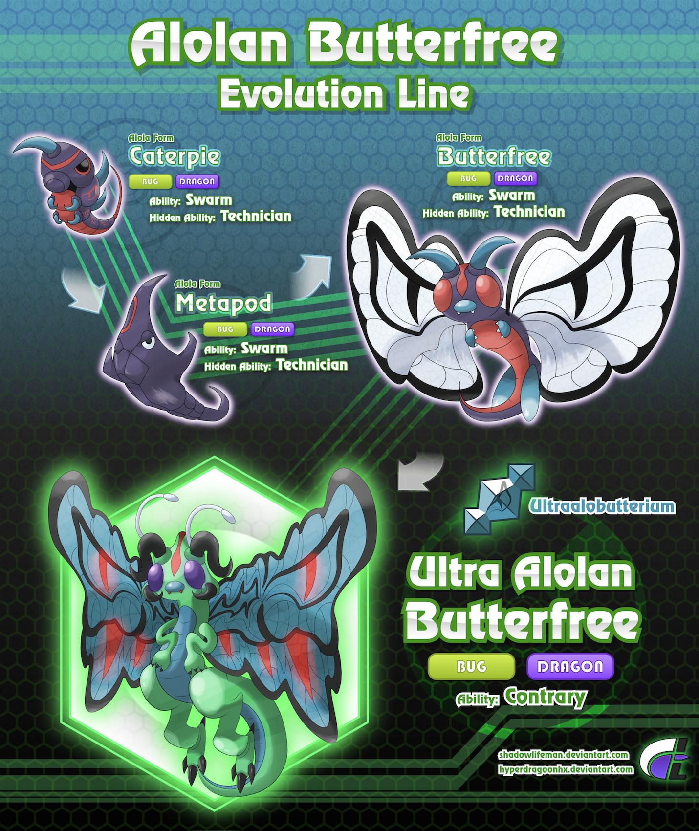 Alolan Butterfree Evolution Line by ShadowLifeman