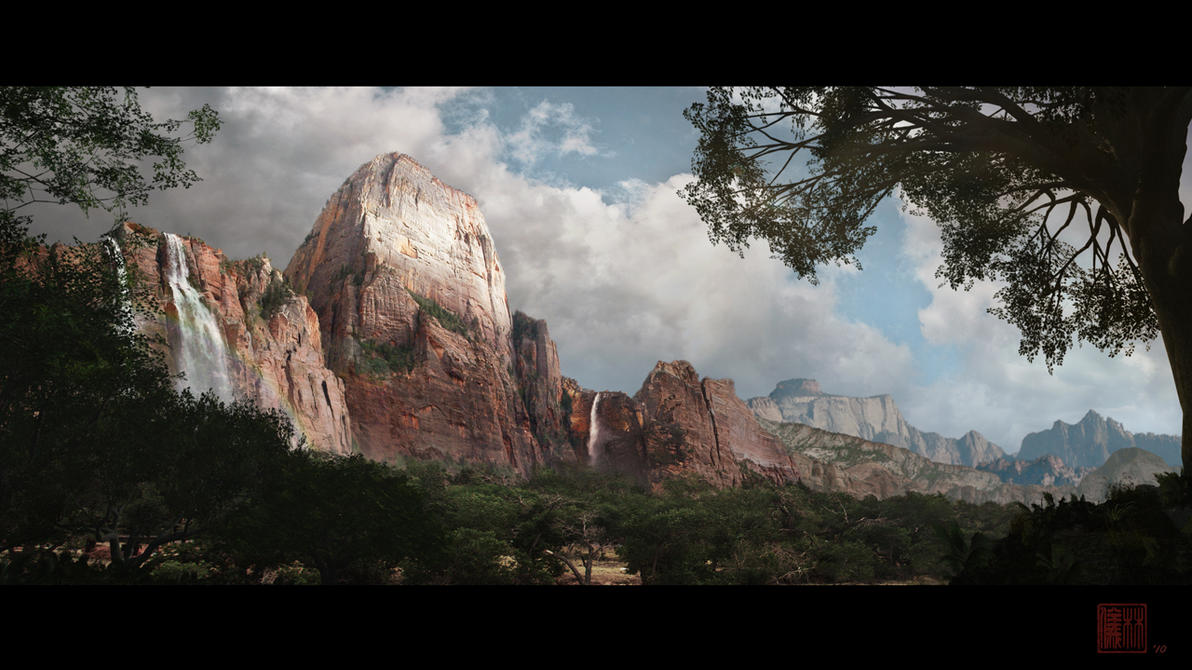the great rock matte painting by kuroe702