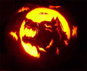 Werewolf pumpkin carving by Feralhound07