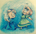 FROZEN-Elsa and Anna by ChaoticColorStudio