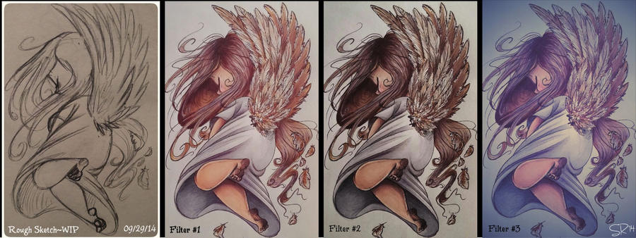 Angel WIP (before-after) by BenjiLion09