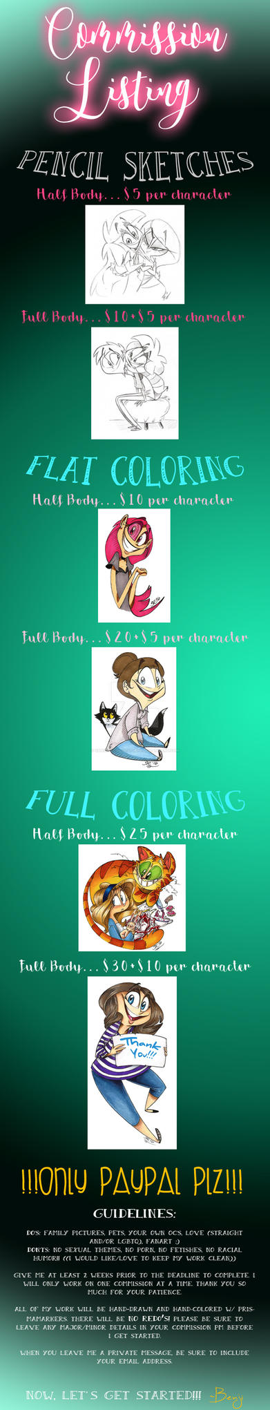 NEW COMMISSION PRICING!!!! by BenjiLion09
