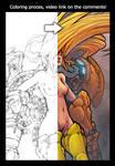 Coloring process - Samus Aran by evilself