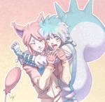 Skitty and Pachirisu by hellcorpceo