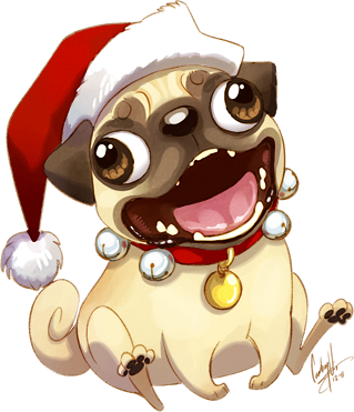 Christmas Pug by hellcorpceo