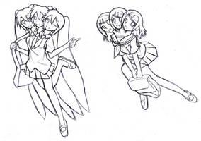 3 Headed Miku And 3 Headed Rin