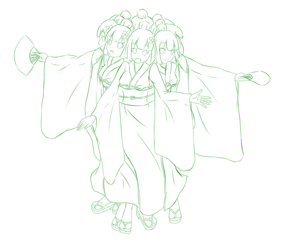 Rounded 8 Headed Zashiki-warashi - sketch by jim830928