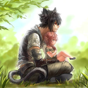 Miqo'te Noct and Lalafell light
