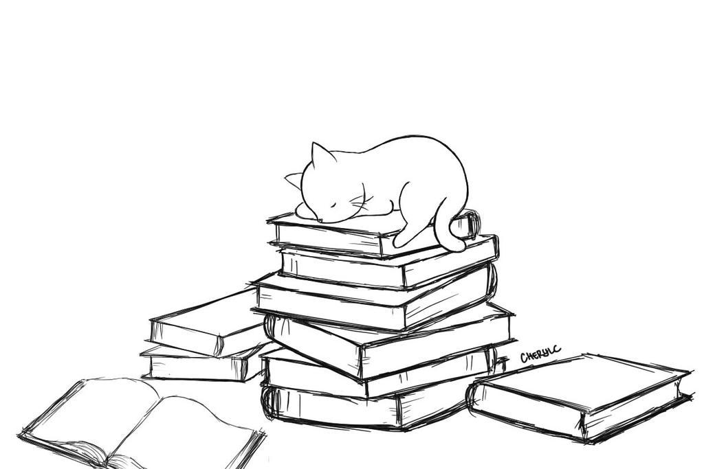 sleeping cat on books by littlepurplepillow on deviantart