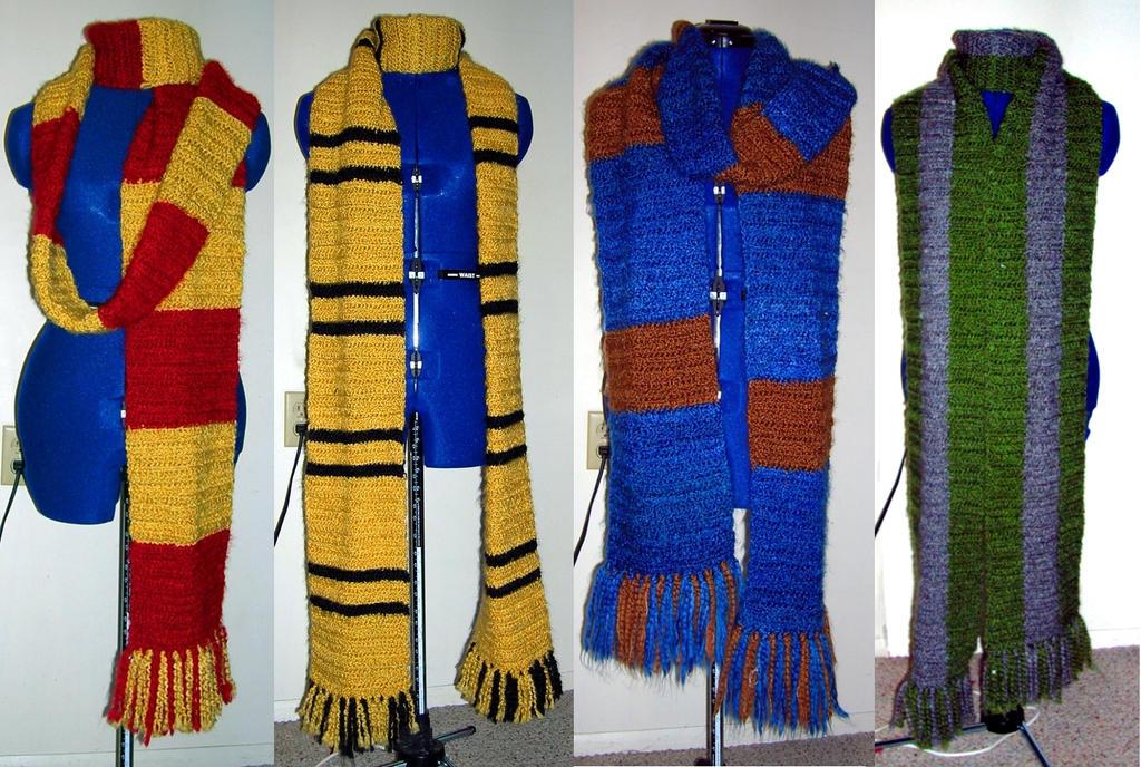 Hogwarts House Scarves by SquirrelyGRRL on DeviantArt