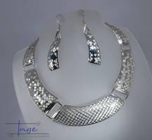Handmade sterling silver Geometric pierced Collar by IngeRiedelJewelley