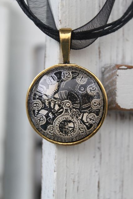 Steampunk vintage watch face and gears necklace by steampunk vintage watch face and gears necklace by sarahannelilyjewelry aloadofball Choice Image