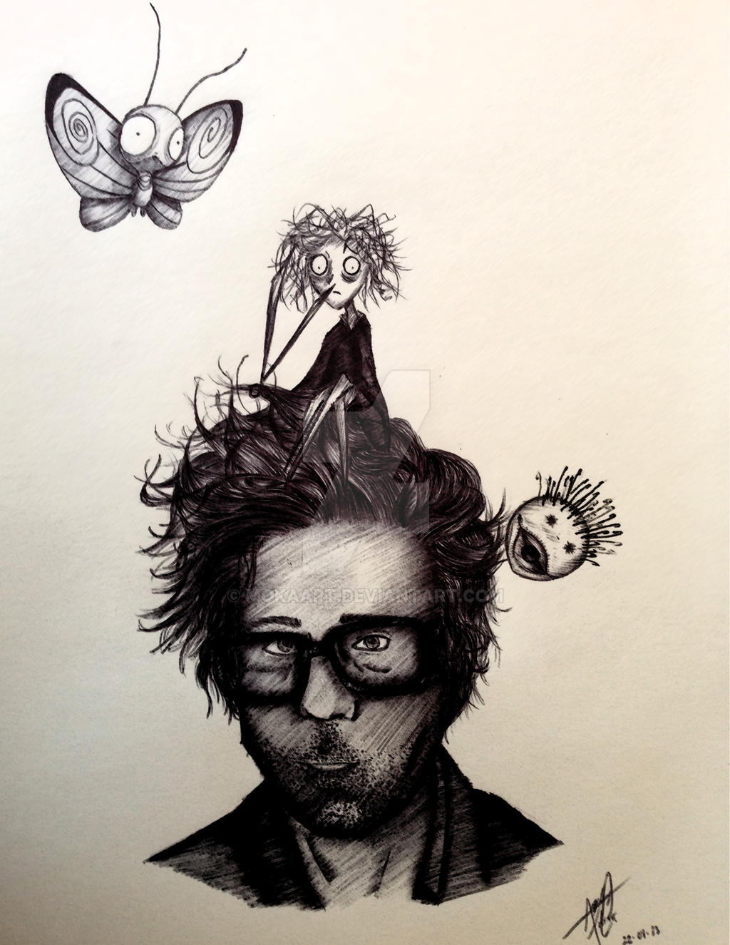 Tim Burton Pen Drawing by mokaart