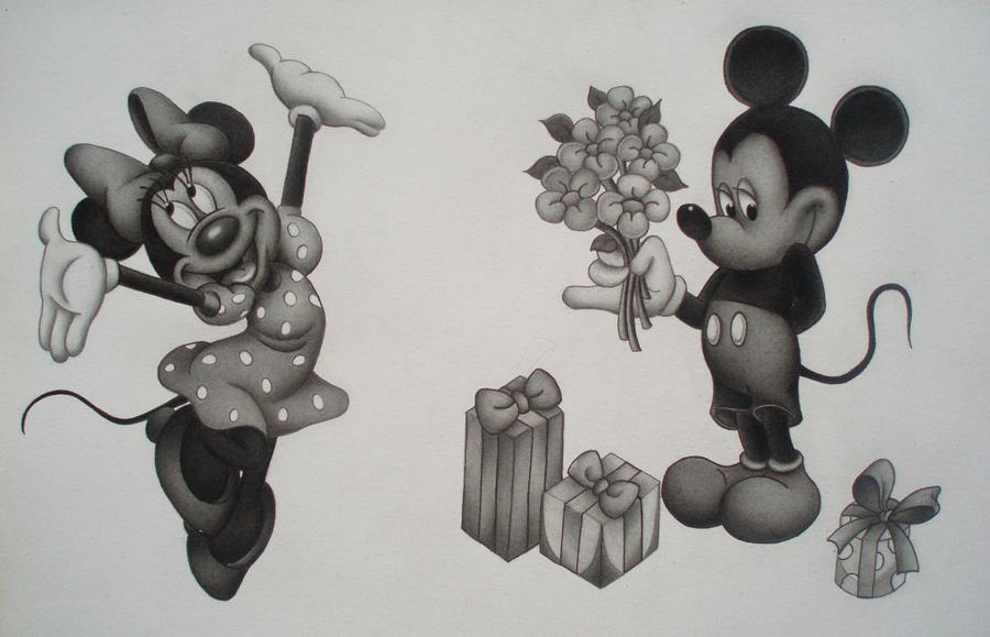 Mickey Mouse and Minnie Mouse Pencil Drawings Of Minnie Mouse