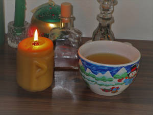 Yule joy rune candle and wassail cup