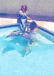 Mermaid 3 watercolor