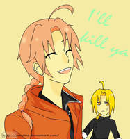 Kamui and Edward Elric - Switched Costume by Zwartie