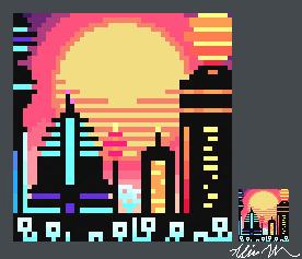Luminopolis Sunrise Pixel Art by SkyTheVirus