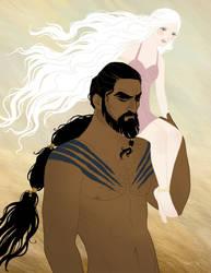 Drogo and Daenerys by tamiart