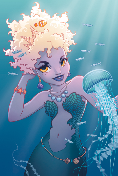 Mermaid with Jellyfish by tamiart