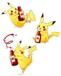 Pikachu and Ketchup by tamiart