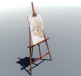 Easel with a sketch of Leonardo da Vinci