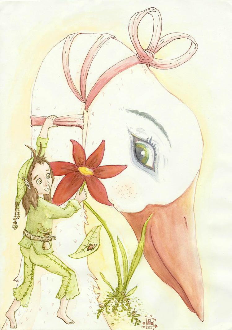 Elve and Bird by Inkaeo