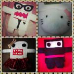 Domo-kun and Hello Kitty plushies