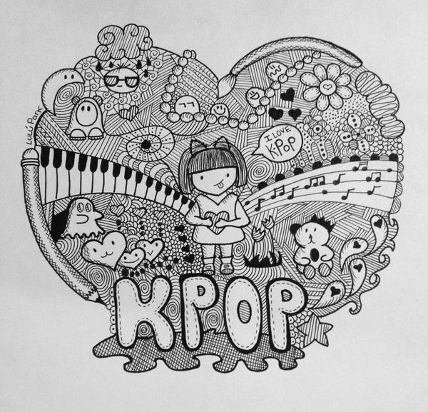 Doodle i love kpop by iamlulupark on deviantart for Love doodles to draw