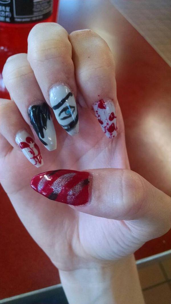 Jeff the Killer Nail Art by rayray25 on DeviantArt