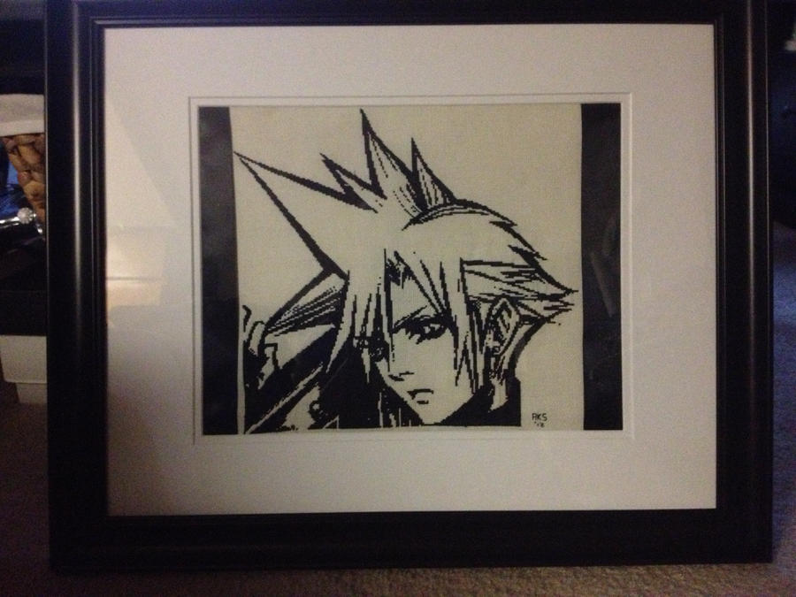 Cloud Strife Cross Stitch (Framed, Matted) by Schrimpyoctopus