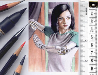 Battle Angel Alita sketchcard by whu-wei