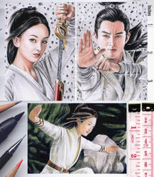Princess Agents sketch cards by whu-wei