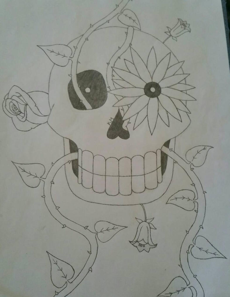 Skull w/ plants by icouldntfindaname1
