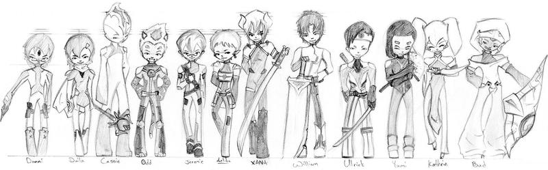 Code Lyoko Chibi's - Line Up, by DAgStar