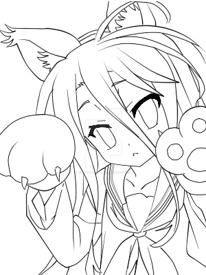 No Game No Life - Neko Shiro - Lineart by TheSweetDevil on ...