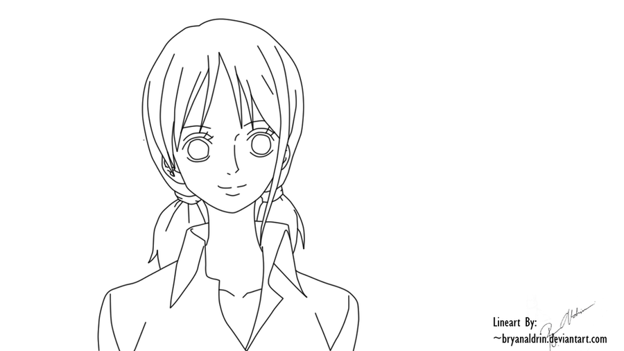 Nami Lineart : Nami strong world lineart by bryanaldrin on deviantart