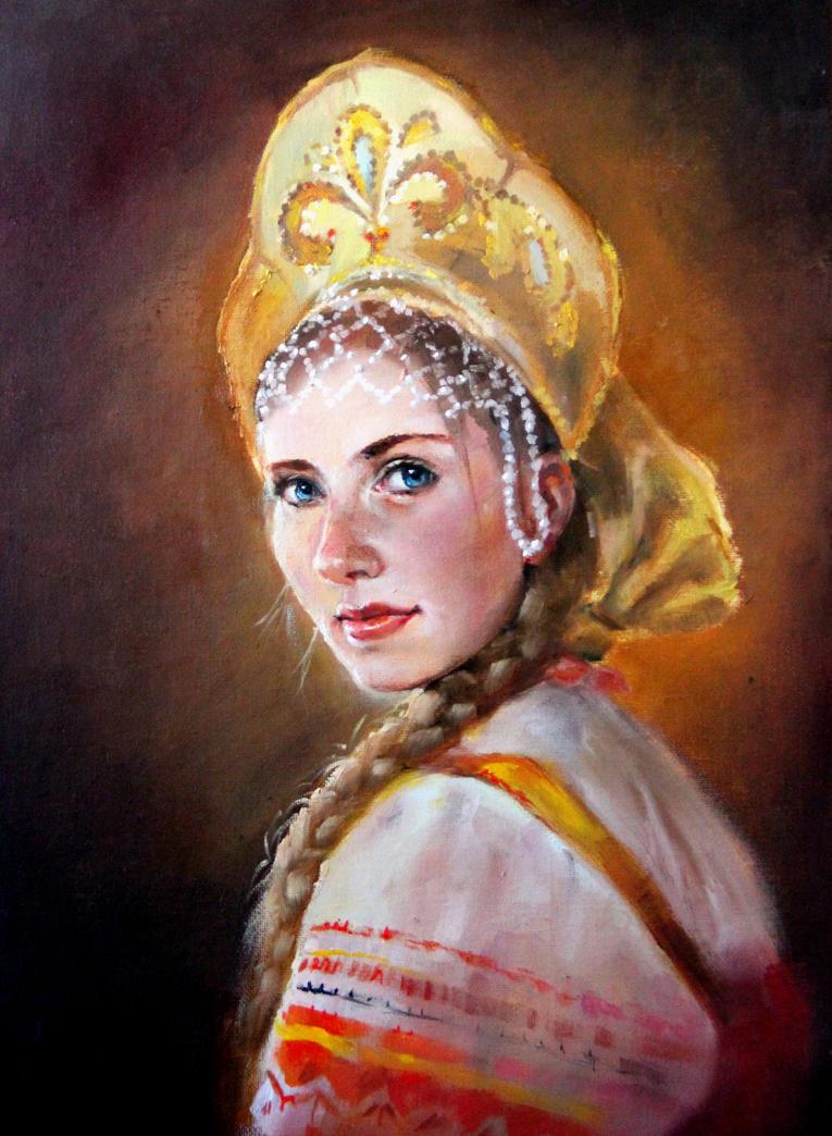 Russian Paintings Of Women Russian Girl by...