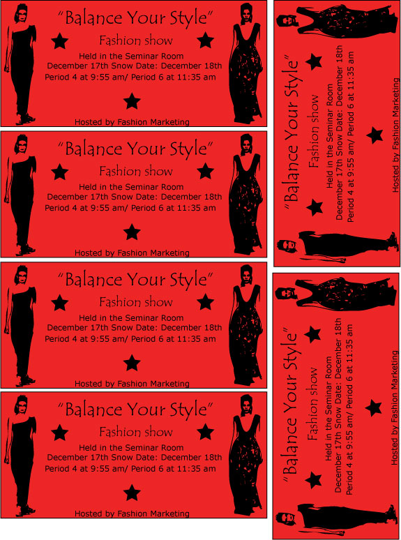 Tickets for fashion shows 40 types dressing room wallpaper for Fashion show ticket template
