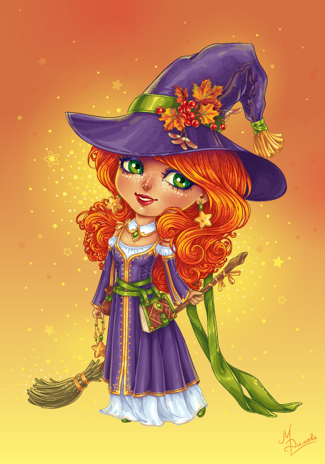 Halloween Witch Chibi by dimary