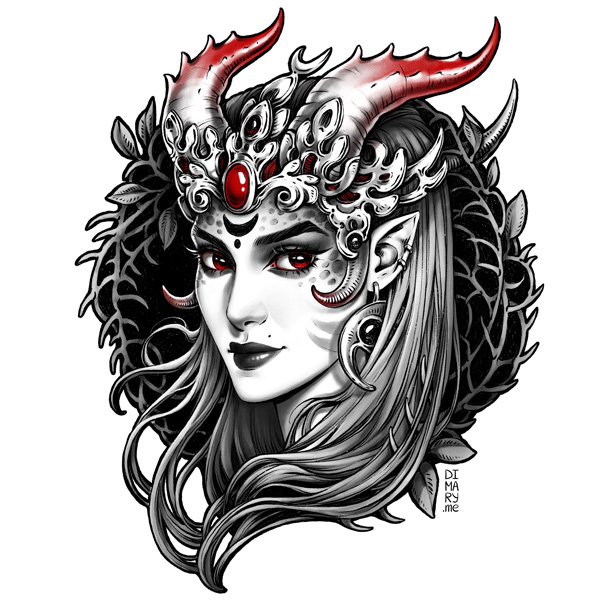 Commission: Demonic Lady by dimary