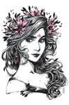 Inktober: Cornflower Witch