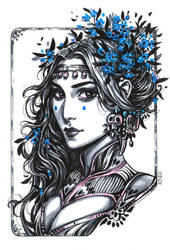 Inktober: Forget-me-not Witch by dimary