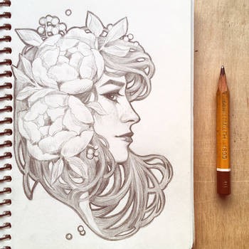 Daily sketch: Art Nouveau girl 1 by dimary